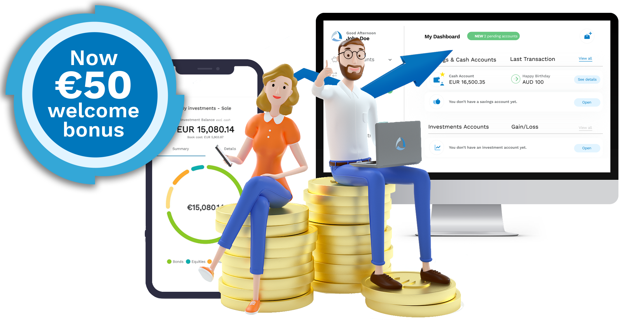Savings that still yield, investments without entry fees and 50€ welcome bonus.